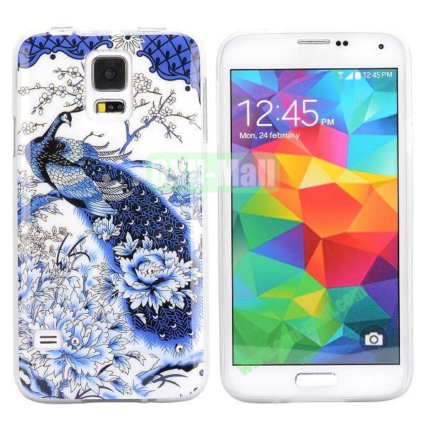 Colorful Peacock Diamond Embedded TPU Case for Samsung Galaxy S5 I9600 (Dark Blue)