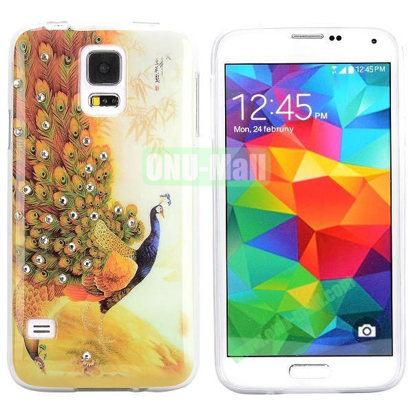 Colorful Peacock Diamond Embedded TPU Case for Samsung Galaxy S5 I9600 (Brown)