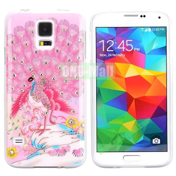 Colorful Peacock Diamond Embedded TPU Case for Samsung Galaxy S5 I9600 (Pink)