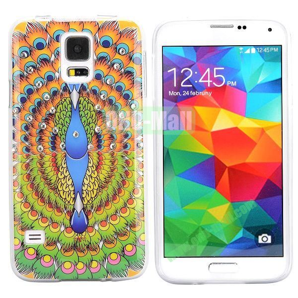 Colorful Peacock Diamond Embedded TPU Case for Samsung Galaxy S5 I9600 (Colorful)