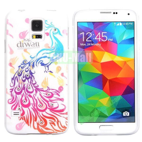 Colorful Peacock Diamond Embedded TPU Case for Samsung Galaxy S5 I9600 (Rose+Blue)