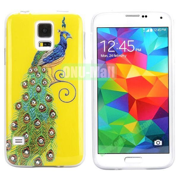 Colorful Peacock Diamond Embedded TPU Case for Samsung Galaxy S5 I9600 (Yellow+Green)