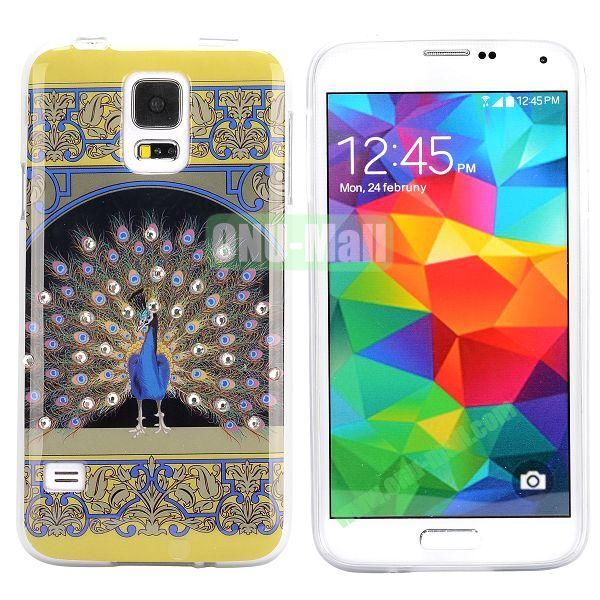 Colorful Peacock Diamond Embedded TPU Case for Samsung Galaxy S5 I9600 (Tribal Style)