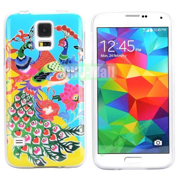Colorful Peacock Diamond Embedded TPU Case for Samsung Galaxy S5 I9600 (Baby Blue Background)