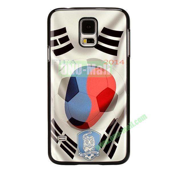 2014 FIFA World Cup Pattern Aluminium Coated PC Hard Case for Samsung Galaxy S5i9600 (Korea Flag Design)