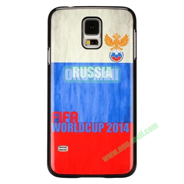2014 FIFA World Cup Pattern Aluminium Coated PC Hard Case for Samsung Galaxy S5i9600 (Russia Flag and National Emblem)