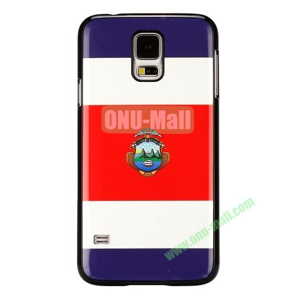 2014 FIFA World Cup Pattern Aluminium Coated PC Hard Case for Samsung Galaxy S5i9600 (The Republic of Costa Rica Flag)