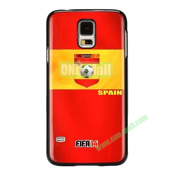 2014 FIFA World Cup Pattern Aluminium Coated PC Hard Case for Samsung Galaxy S5i9600 (Spain Flag)