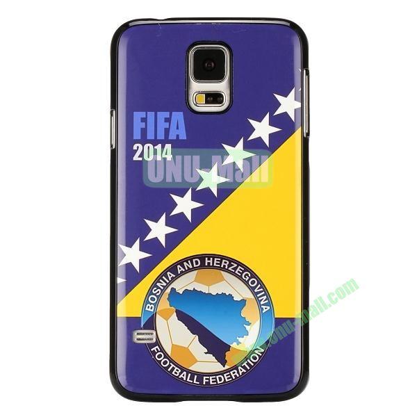 2014 FIFA World Cup Pattern Aluminium Coated PC Hard Case for Samsung Galaxy S5i9600 (Bosnia and Herzegovina Flag)