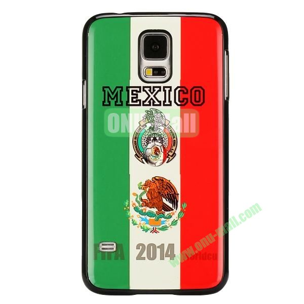 2014 FIFA World Cup Pattern Aluminium Coated PC Hard Case for Samsung Galaxy S5i9600 (Mexico Flag)