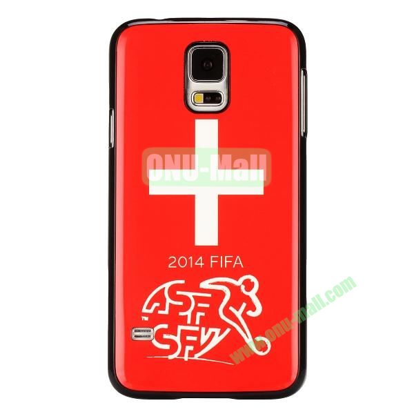 2014 FIFA World Cup Pattern Aluminium Coated PC Hard Case for Samsung Galaxy S5i9600 (Switzerland Flag)