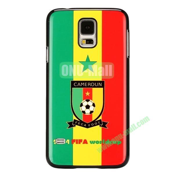 2014 FIFA World Cup Pattern Aluminium Coated PC Hard Case for Samsung Galaxy S5i9600 (Cameroun Flag)