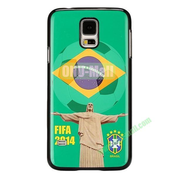 2014 FIFA World Cup Pattern Aluminium Coated PC Hard Case for Samsung Galaxy S5i9600 (Brazil Cristo Redentor)