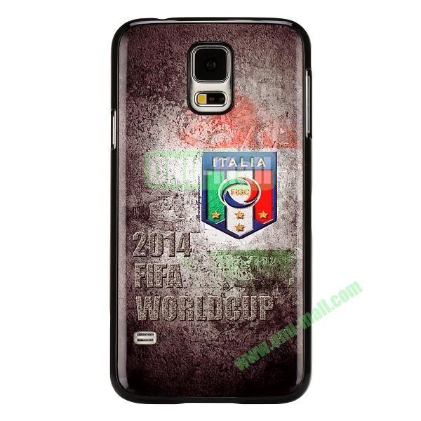 2014 FIFA World Cup Pattern Aluminium Coated PC Hard Case for Samsung Galaxy S5i9600 (Italian Team Pattern)