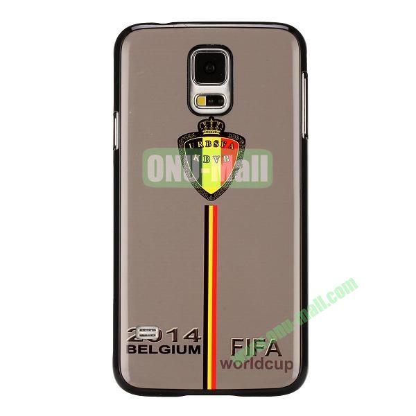 2014 FIFA World Cup Pattern Aluminium Coated PC Hard Case for Samsung Galaxy S5i9600 (Belgium Team Pattern)