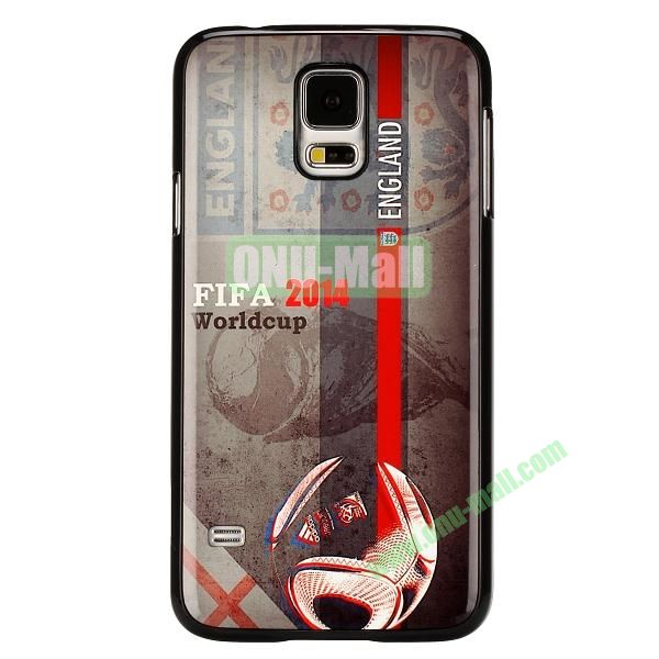 2014 FIFA World Cup Pattern Aluminium Coated PC Hard Case for Samsung Galaxy S5i9600 (England Team Pattern)