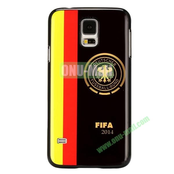 2014 FIFA World Cup Pattern Aluminium Coated PC Hard Case for Samsung Galaxy S5i9600 (Coat of Arms of Germany)