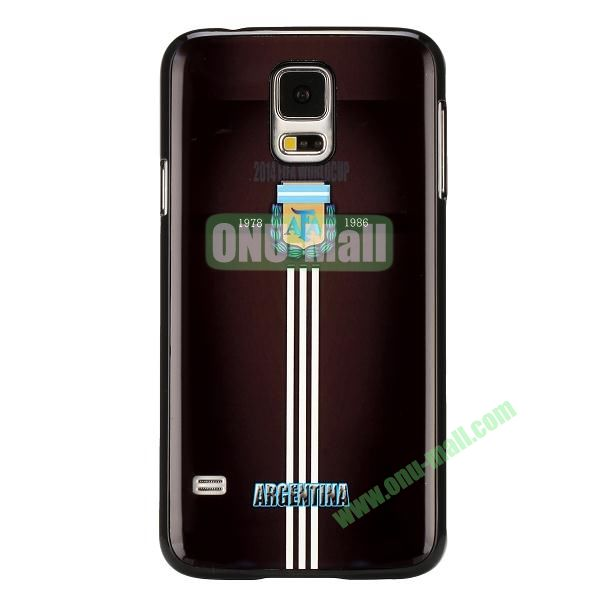 2014 FIFA World Cup Pattern Aluminium Coated PC Hard Case for Samsung Galaxy S5i9600 (Argentina Team Pattern)