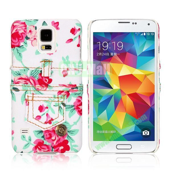 Jeans Cloth with Flower Pattern Hard PC Case for Samsung Galaxy S5 I9600 (White+Red)