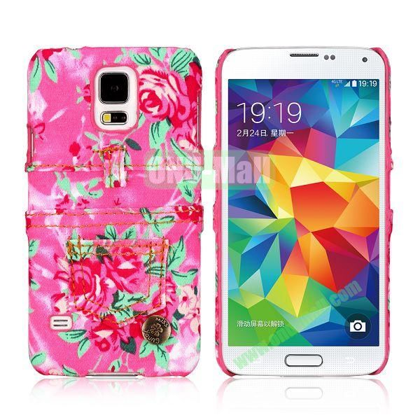 Jeans Cloth with Flower Pattern Hard PC Case for Samsung Galaxy S5 I9600 (Rose)