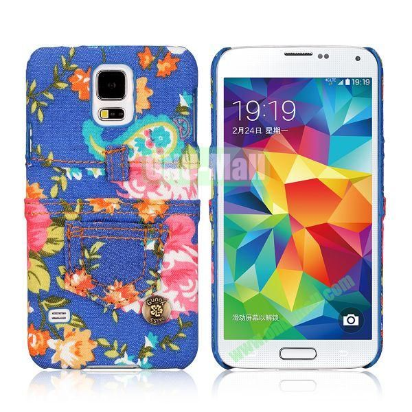 Jeans Cloth with Flower Pattern Hard PC Case for Samsung Galaxy S5 I9600 (Dark blue+Colorful)