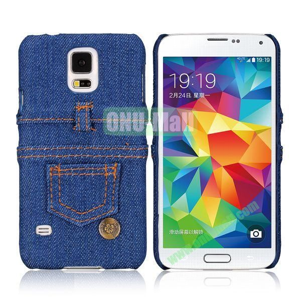 Jeans Cloth Coated Hard PC Case for Samsung Galaxy S5 I9600 (Dark blue)