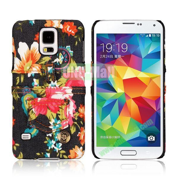 Jeans Cloth with Flower Pattern Hard PC Case for Samsung Galaxy S5 I9600 (Black+Red)