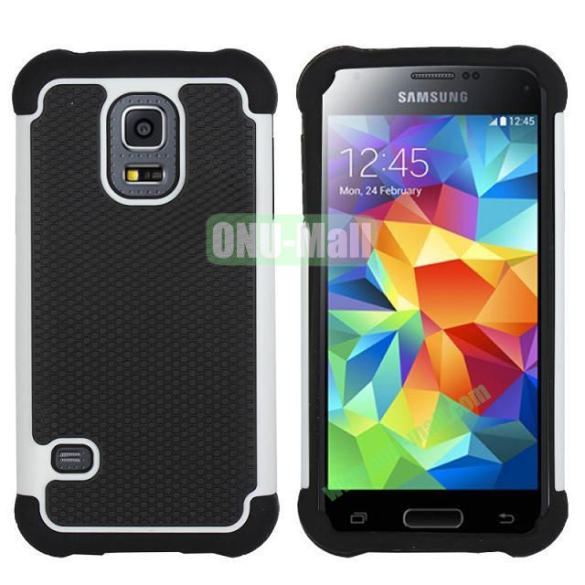 Dual-Color Football Pattern Silicone + PC Hybrid Case for Samsung Galaxy S5 Mini G800 (White)