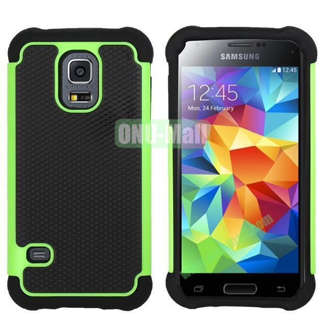 Dual-Color Football Pattern Silicone + PC Hybrid Case for Samsung Galaxy S5 Mini G800 (Green)