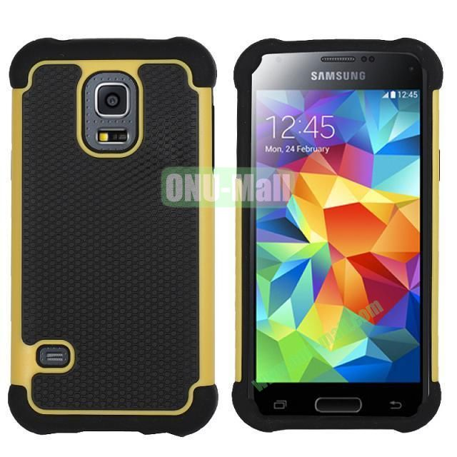 Dual-Color Football Pattern Silicone + PC Hybrid Case for Samsung Galaxy S5 Mini G800 (Yellow)