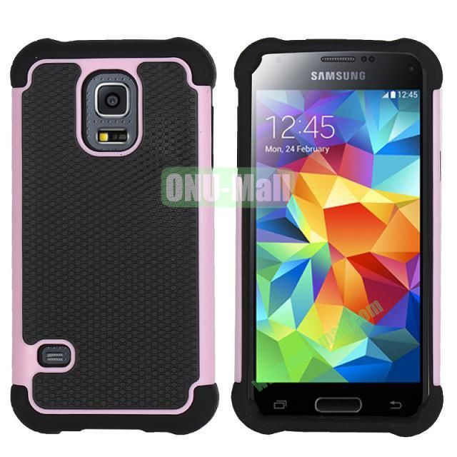 Dual-Color Football Pattern Silicone + PC Hybrid Case for Samsung Galaxy S5 Mini G800 (Pink)
