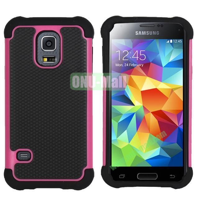 Dual-Color Football Pattern Silicone + PC Hybrid Case for Samsung Galaxy S5 Mini G800 (Rose)