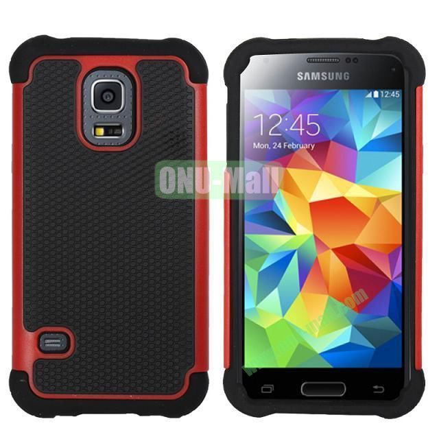 Dual-Color Football Pattern Silicone + PC Hybrid Case for Samsung Galaxy S5 Mini G800 (Red)