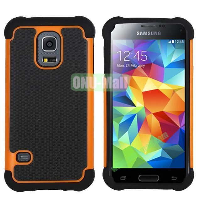 Dual-Color Football Pattern Silicone + PC Hybrid Case for Samsung Galaxy S5 Mini G800 (Orange)
