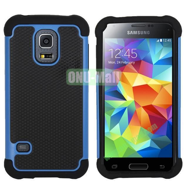 Dual-Color Football Pattern Silicone + PC Hybrid Case for Samsung Galaxy S5 Mini G800 (Blue)