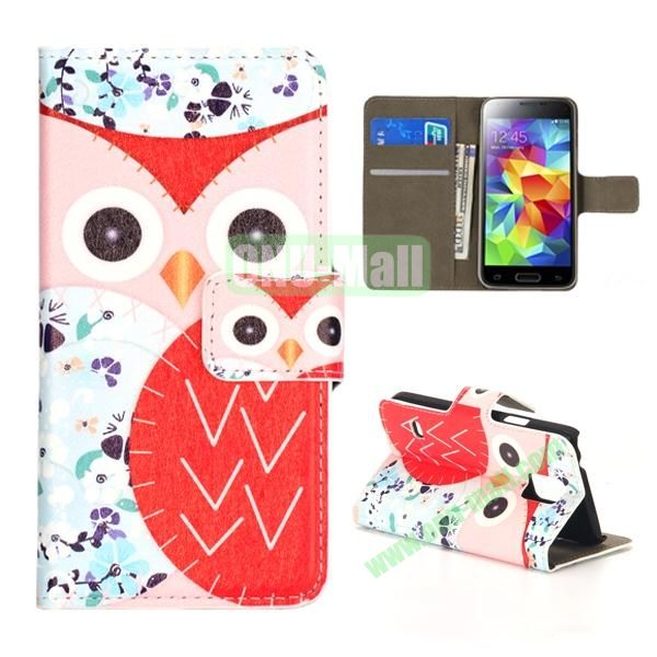 Colorful Owl Pattern Magnetic Closure Flip Leather Case for Samsung Galaxy S5 Mini with Card Slots and Stand (Pink and Red)