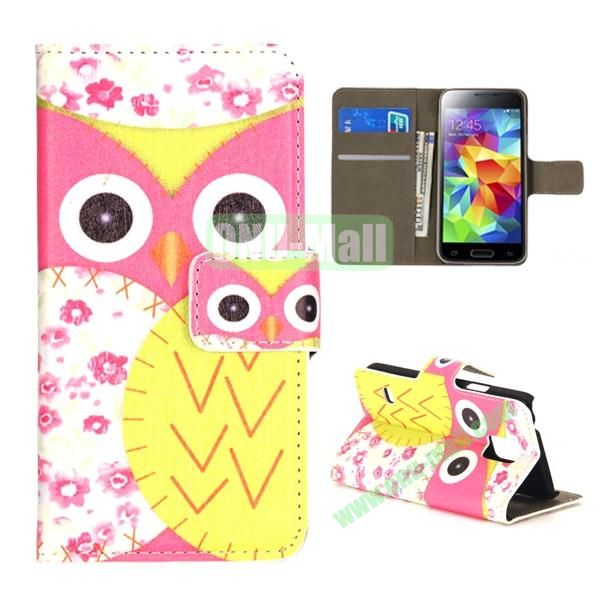 Colorful Owl Pattern Magnetic Closure Flip Leather Case for Samsung Galaxy S5 Mini with Card Slots and Stand (Pink and Yellow)