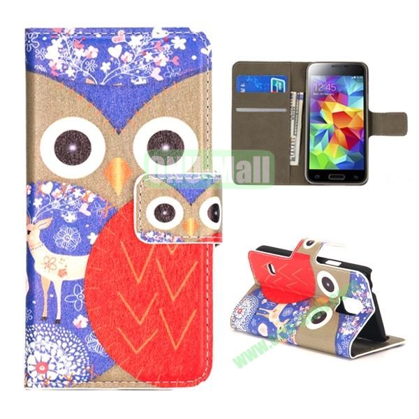 Colorful Owl Pattern Magnetic Closure Flip Leather Case for Samsung Galaxy S5 Mini with Card Slots and Stand (Brown and Purple)