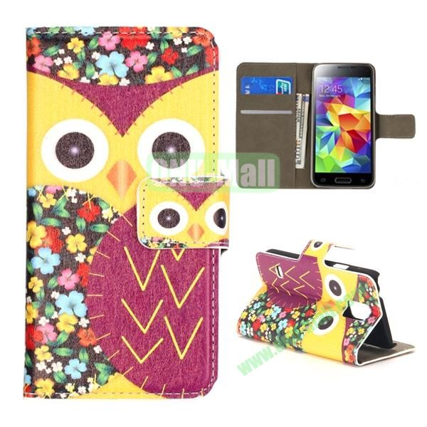 Colorful Owl Pattern Magnetic Closure Flip Leather Case for Samsung Galaxy S5 Mini with Card Slots and Stand (Yellow and Magenta)