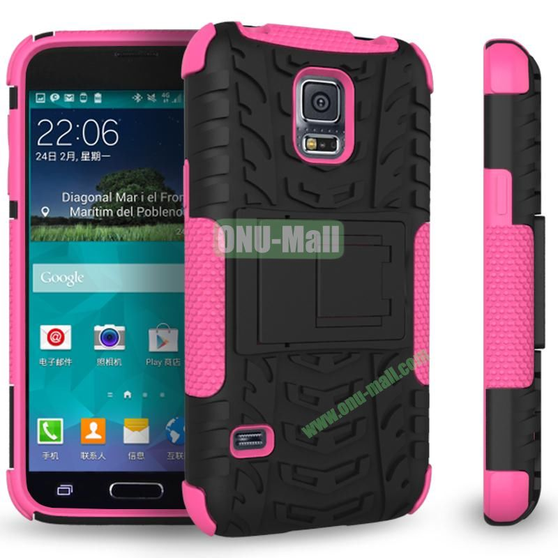 Mix Color Two in One Pattern TPU and PC Protective Case for Samsung Galaxy S5 Mini (Black and Pink)