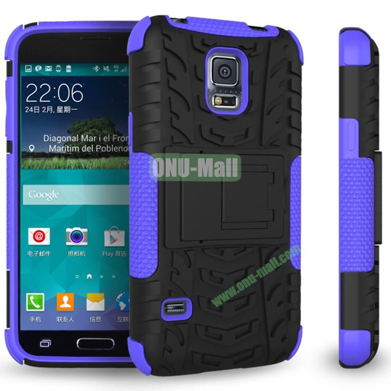 Mix Color Two in One Pattern TPU and PC Protective Case for Samsung Galaxy S5 Mini (Black and Purple)