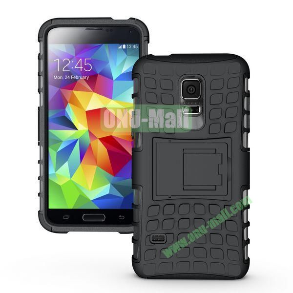 Anti-skid Hybrid PC and TPU Case with Kickstand for Samsung Galaxy S5 Mini SM-G800 (Black)
