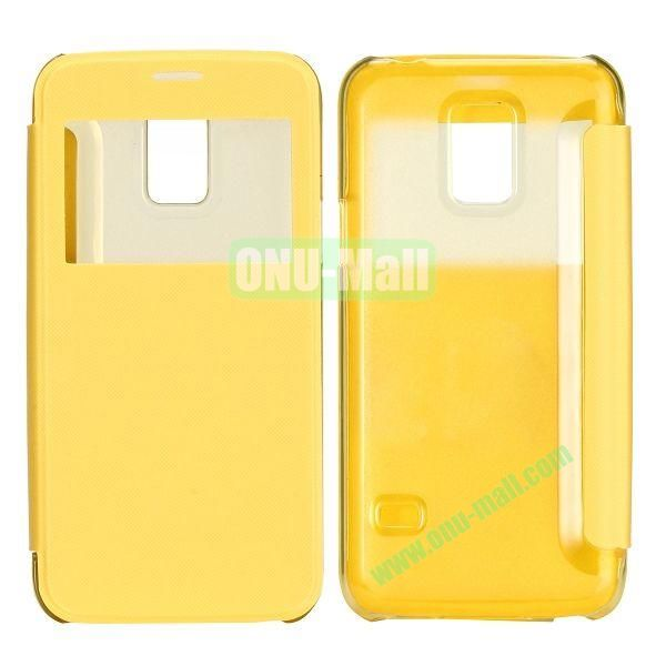 Brushed Cloth Texture Caller ID Window Design Side Flip Leather Case for Samsung Galaxy S5 mini G800 (Yellow)