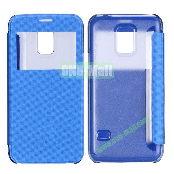 Brushed Cloth Texture Caller ID Window Design Side Flip Leather Case for Samsung Galaxy S5 mini G800 (Blue)