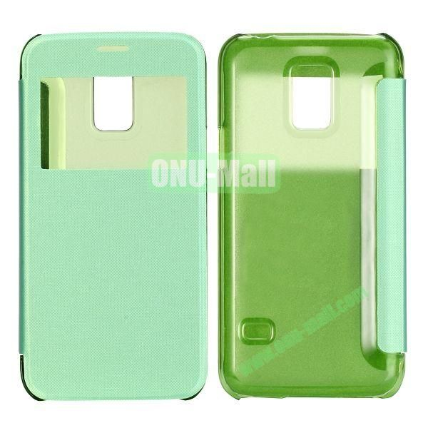 Brushed Cloth Texture Caller ID Window Design Side Flip Leather Case for Samsung Galaxy S5 mini G800 (Green)