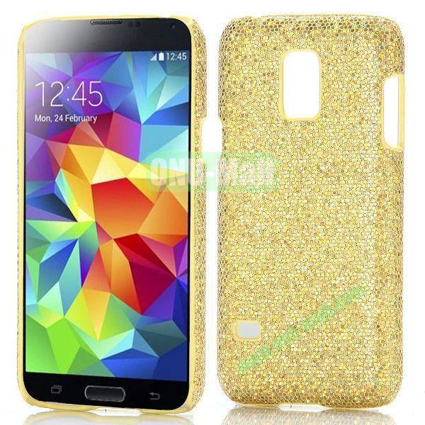 Glitter Powder Hard Case for Samsung Galaxy S5 Mini G800 (Golden)