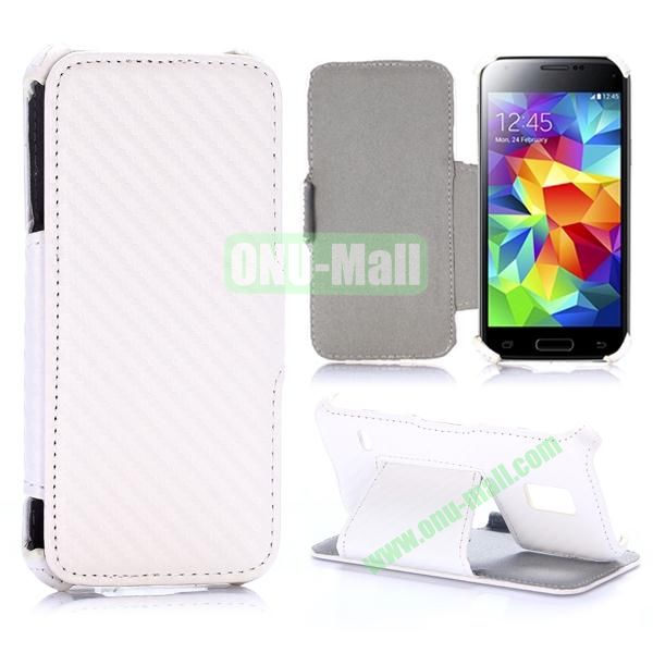 Carbon Fiber Pattern Flip Stand Leather Case for Samsung Galaxy S5 Mini (White)