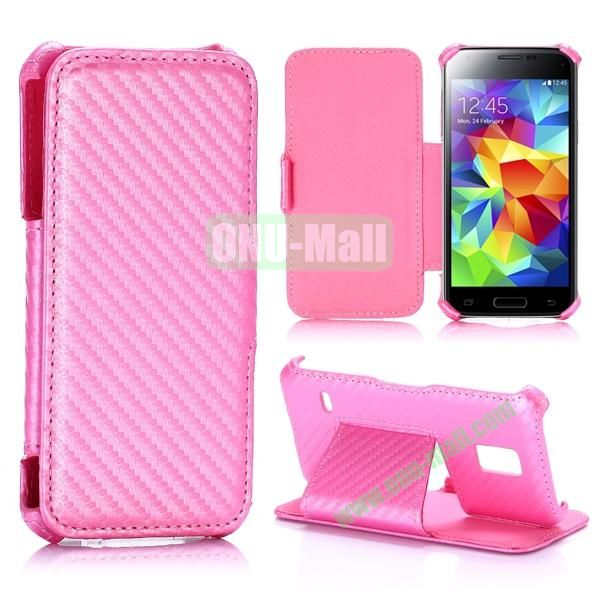 Carbon Fiber Pattern Flip Stand Leather Case for Samsung Galaxy S5 Mini (Pink)