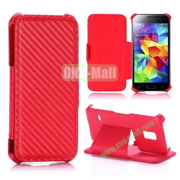 Carbon Fiber Pattern Flip Stand Leather Case for Samsung Galaxy S5 Mini (Red)