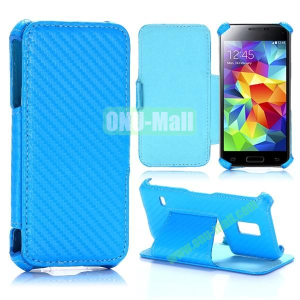 Carbon Fiber Pattern Flip Stand Leather Case for Samsung Galaxy S5 Mini (Blue)